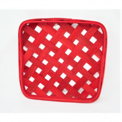 "Tobacco Basket - 16"" Square Red"