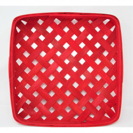 "Tobacco Basket - 18"" Square Red"