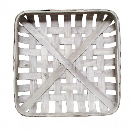 "Tobacco Basket - 16"" Square White"