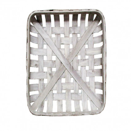 "Tobacco Basket - 20"" White Rectangular"