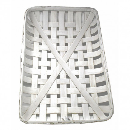 Tobacco Basket White Rectangular 24""