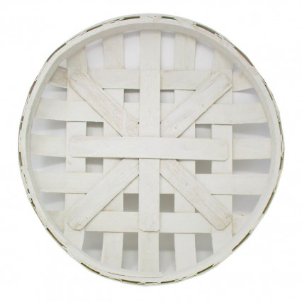 "Tobacco Basket - 19"" White Round"