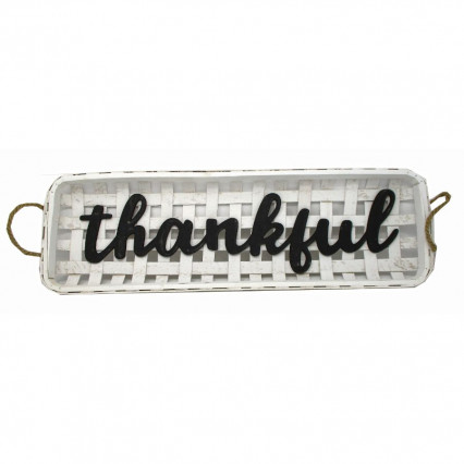 Thankful Wooden White Basket