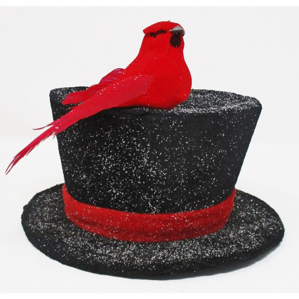 Snowman Hat with Cardinal Christmas Ornament