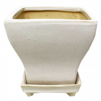 Ceramic Square Planter with Attached Dish