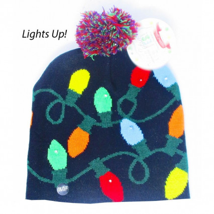 Christmas Bulbs Light Up Sock Hat
