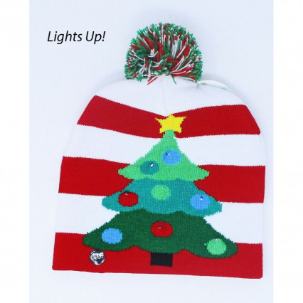 Christmas Tree Light Up Sock Hat