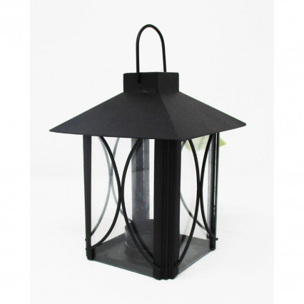 "5.5"" Small Black Metal Lantern with Glass Inserts"