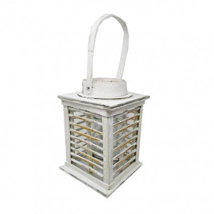 "11"" White Wooden Lantern with Glass Insert"
