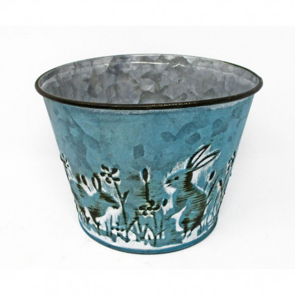 Bunny Rabbit Round Planter - Teal Blue