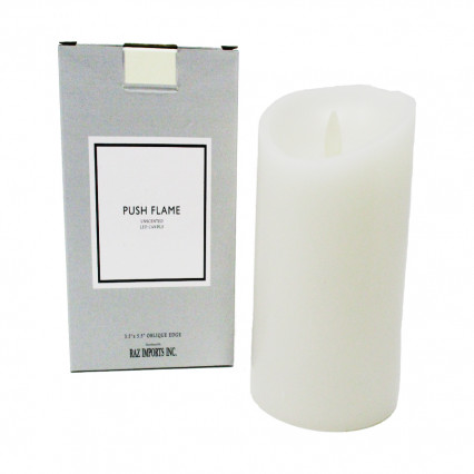 "Ivory Push Flame Candle - 3.5""x5.5"""