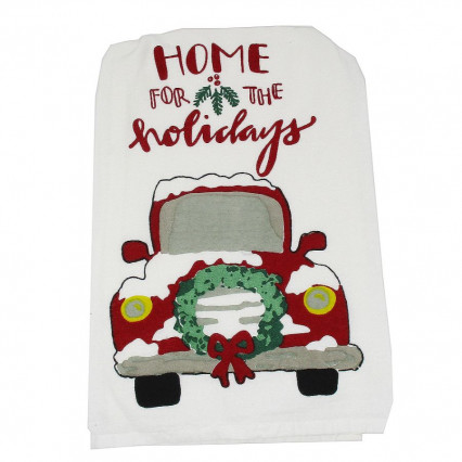Home for the Holidays Red Vintage Truck Kitchen Dishtowel