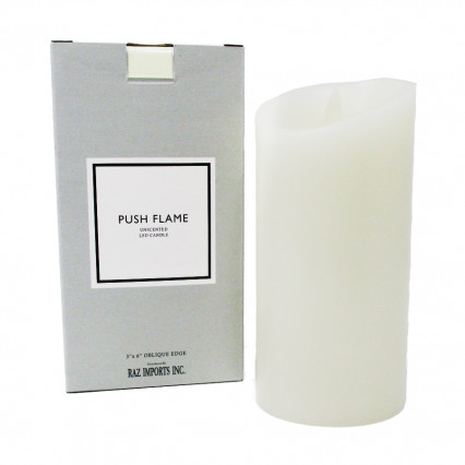 "Ivory Push Flame Candle - 3""x6"""