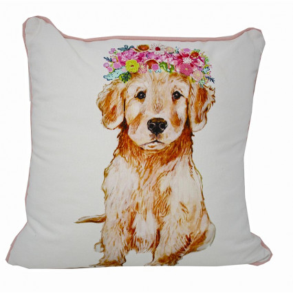 Dog Bloom Accent Throw Pillow