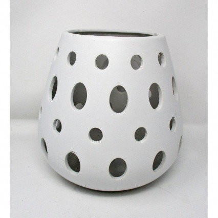 White Vase Lantern Candleholder with Holes