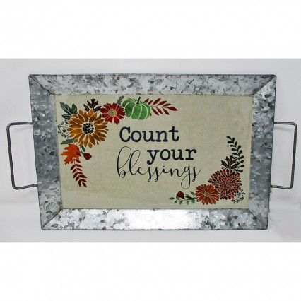 Count Your Blessings Galvanized Decal Serving Tray