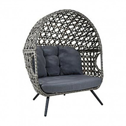 Rattan Chair with Stand and Cushion - Grey - Egg Chairs Outdoor Furniture Carolina Pottery