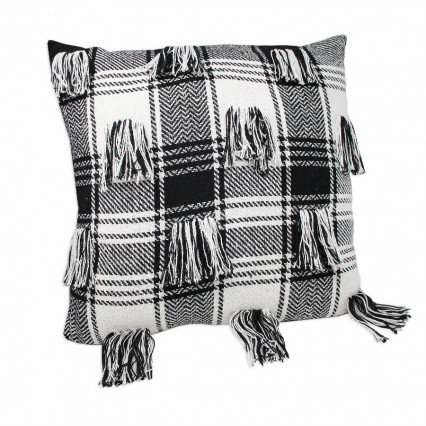 Black and White Plaid Throw Pillow with Tassels