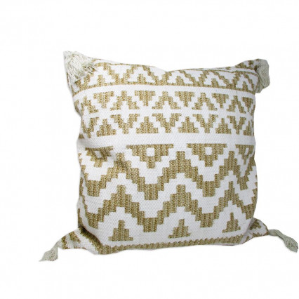 "24"" Tan and White Accent Throw Pillow with Tassels"