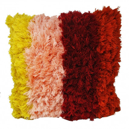"20"" Fluffy 4-color Boho Accent Throw Pillow"