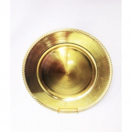 "Charger Plate 13"" Round Gold Braided"