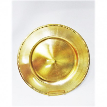"Charger Plate 13"" Round Gold Beaded"