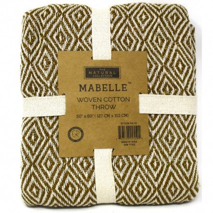 Woven Cotton Throw Blanket - Natural/Gold