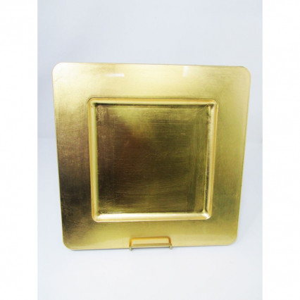 "Charger Plate 13"" Square Gold"