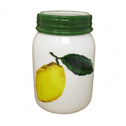Ceramic Lemon Mason Jar Green Rim