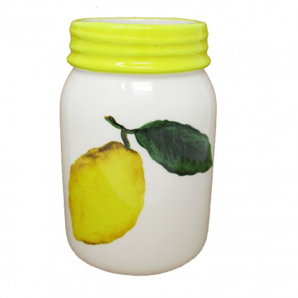 Ceramic Lemon Mason Jar Yellow Rim