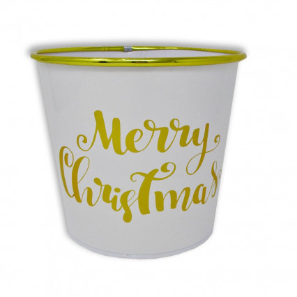 Merry Christmas White and Gold Planter