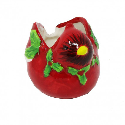 Cardinal Ceramic Christmas Planter