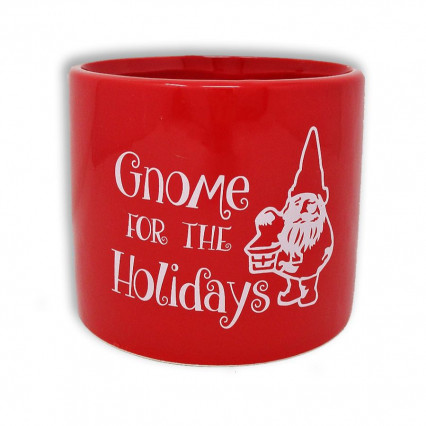 Gnome for the Holidays Red Christmas Planter