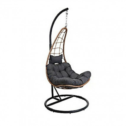 Rattan Swing Chair with Stand and Cushion