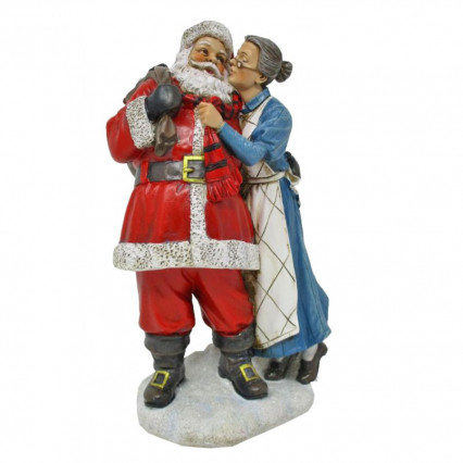 Santa Clause and Mrs Clause Christmas Resin Figurine Decor