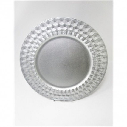 "Charger Plate 13"" Round Silver Grommet"