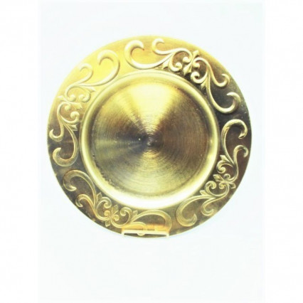 "Charger Plate 13"" Round Gold Flourish"