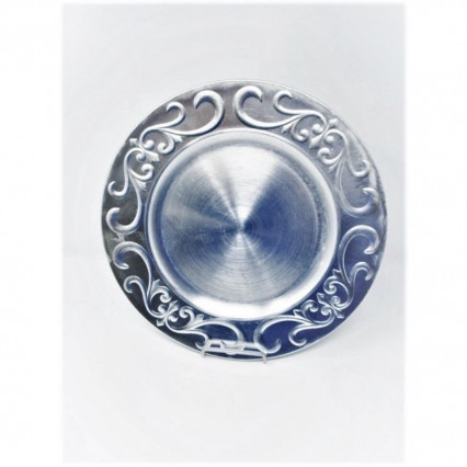 "Charger Plate 13"" Round Silver Flourish"