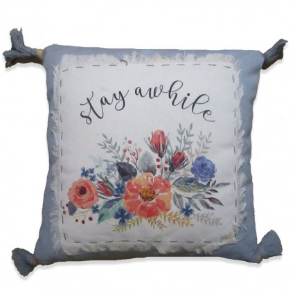 Stay Awhile Pillow with Tassels