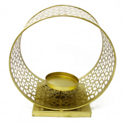"Gold Wide Filigree Circle Candleholder - 8.75"" tall"