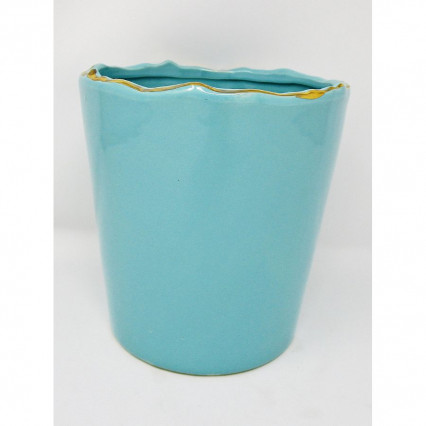 "6"" Teal and Gold Ceramic Planter"