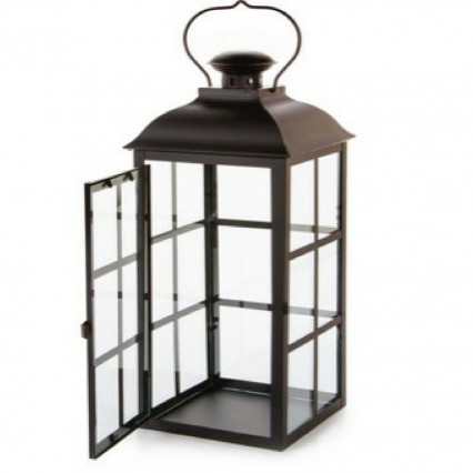 "19"" Black Powder Metal Lantern"