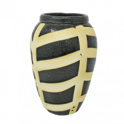 Boho Black and Cream Native Ceramic Vase