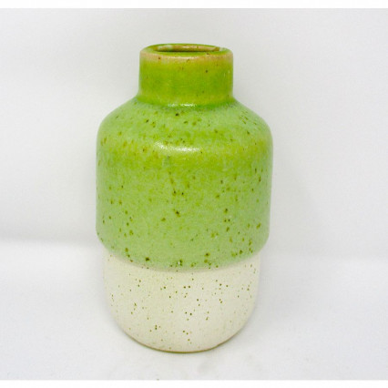 Lime Green and White Ceramic Vase