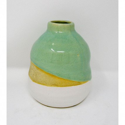 Green Beige and White Ceramic Vase