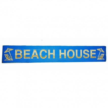 Beach House Blue Wooden Hanging Sign