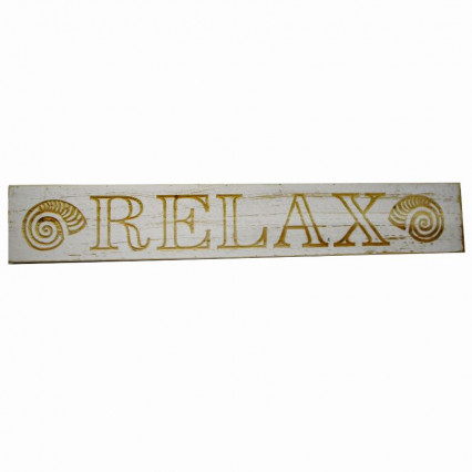 Relax Shells White Wooden Hanging Sign