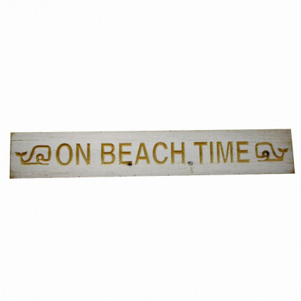 On Beach Time Whales White Wooden Hanging Sign