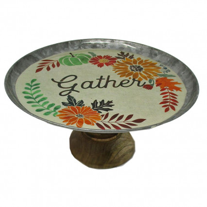 Gather Galvanized Steel and Wood Decal Cake Stand
