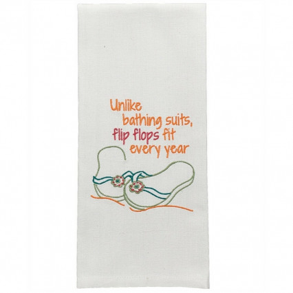 Unlike Bathing Suits, Flip Flops Fit Dishtowel